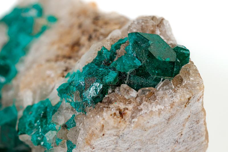 För stenDioptase för makro mineralisk koppar silikat på en vit bakgrund arkivbilder