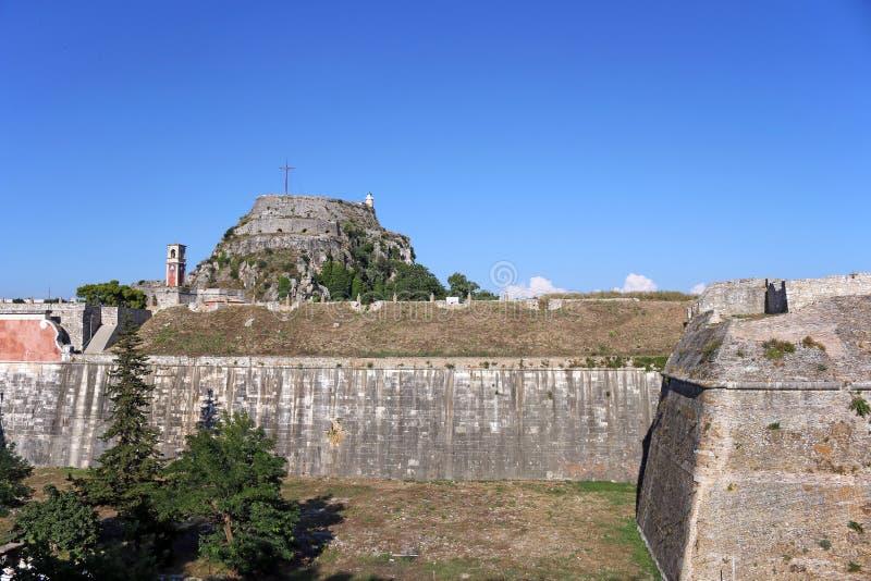 För stenväggar för gammal fästning stor Korfu stad fotografering för bildbyråer
