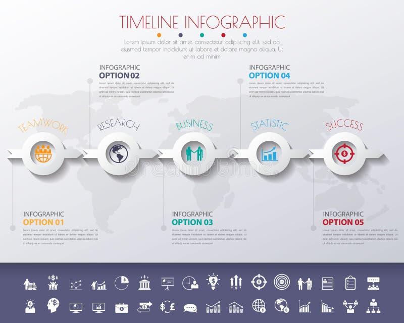för StepDesign för färg 3D vikarier för timeline för nummer för rengöring plana långa skugga royaltyfri illustrationer