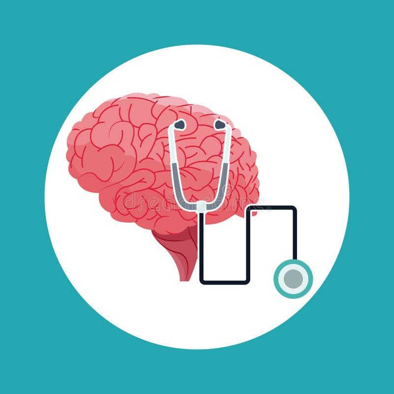 För stetoskopläkarundersökning för mänsklig hjärna symbol vektor illustrationer