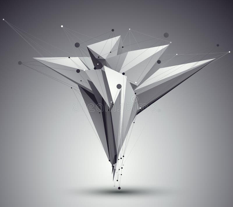 för stilabstrakt begrepp för ingrepp 3D modern bakgrund, futuristisk tem för origami royaltyfri illustrationer