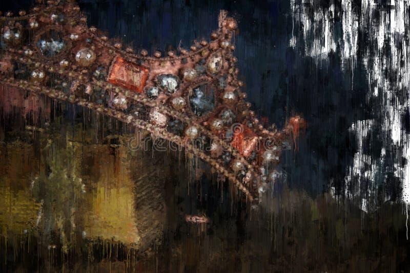 för stilabstrakt begrepp för olje- målning bild av den guld- kronan medeltida period för fantasi vektor illustrationer