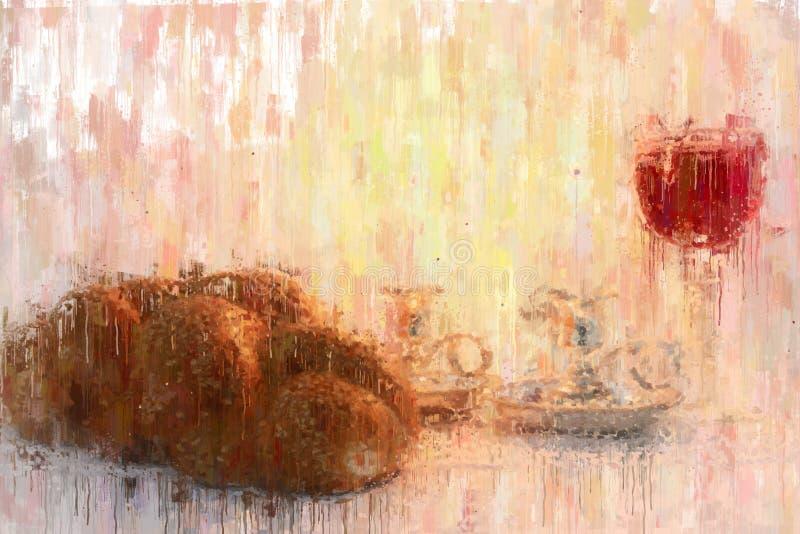 för stilabstrakt begrepp för olje- målning bild av shabbat challahbröd, shabbatvin och stearinljus vektor illustrationer