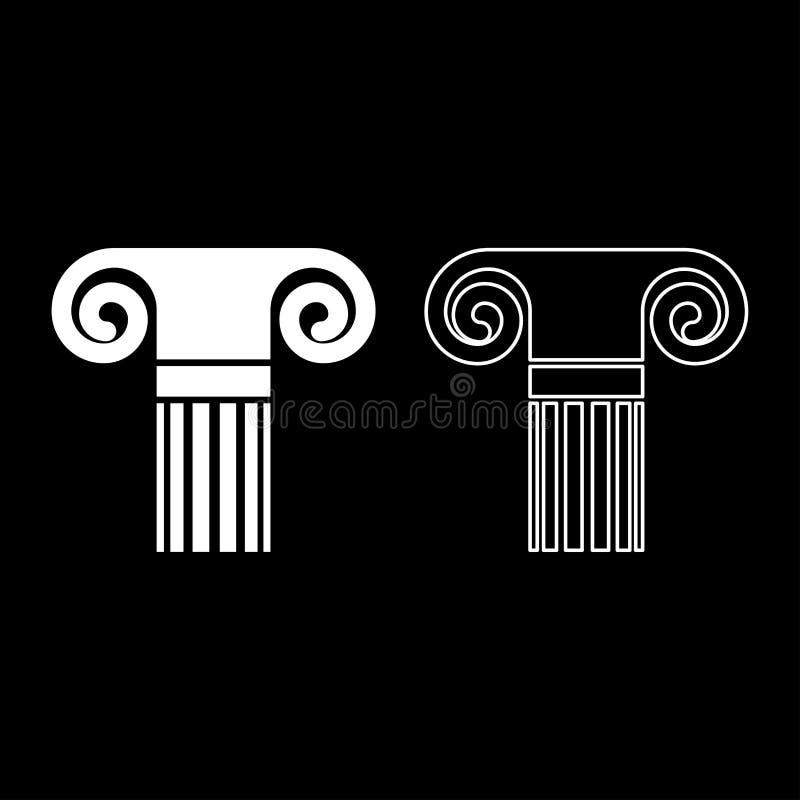 För stilantikviteten för kolonnen symbolen in för kolonnen för den forntida klassiska för kolonnen för arkitektur pelaren för bes royaltyfri illustrationer