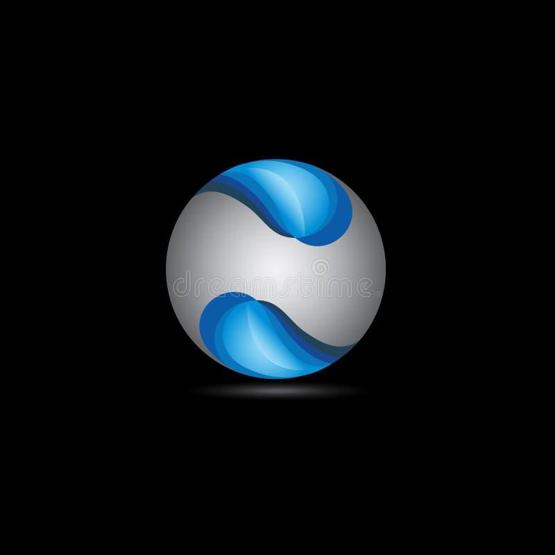 för stilblått för cirkel 3D logo stock illustrationer