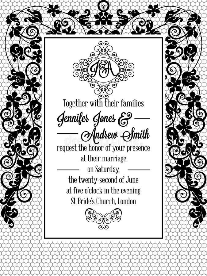 För stilbröllop för tappning barockt kort för inbjudan vektor illustrationer