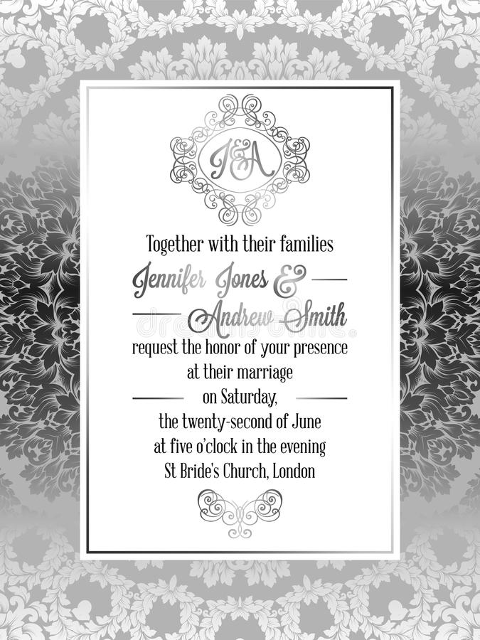 För stilbröllop för tappning barock mall för kort för inbjudan vektor illustrationer