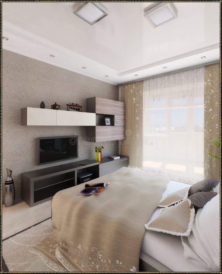 För stilinre för sovrummet framför den moderna designen, 3D arkivbild