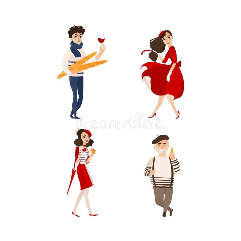 För stilmode för vektor plan fransk uppsättning för folk royaltyfri illustrationer