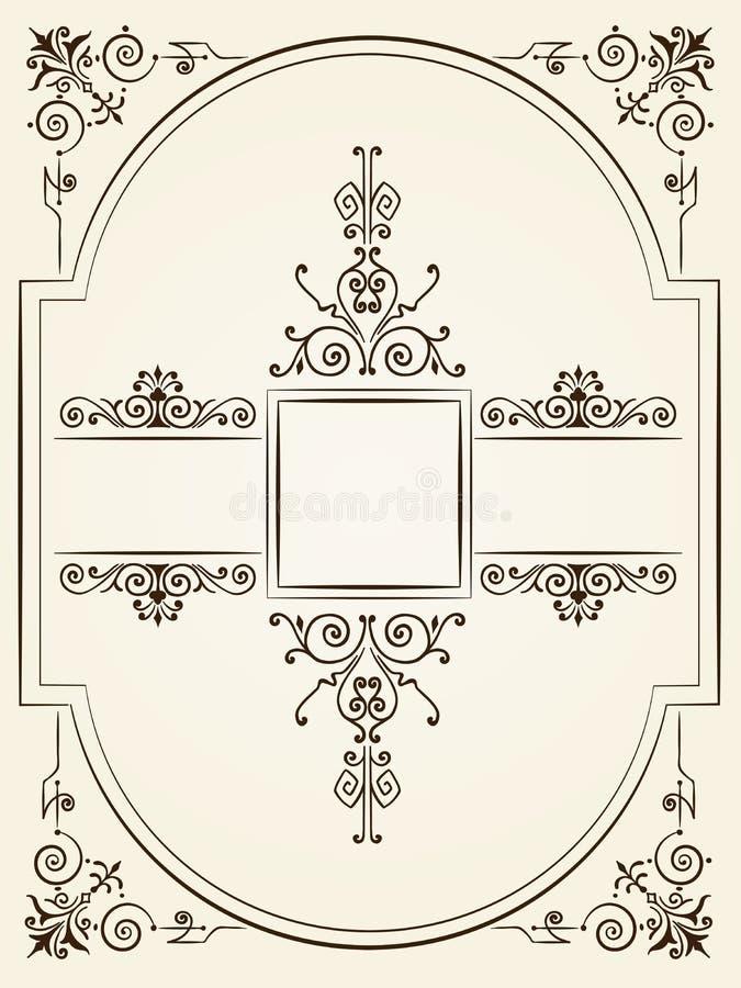För stilprydnad för tappning barock design stock illustrationer