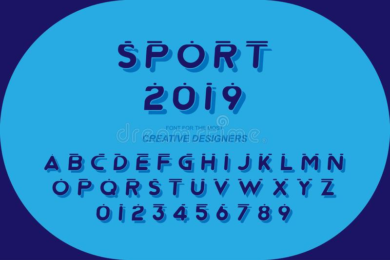 För stilsortsalfabet för sport original- djärva bokstäver och nummer för den idérika designmallen för logo Plan illustration eps1 vektor illustrationer