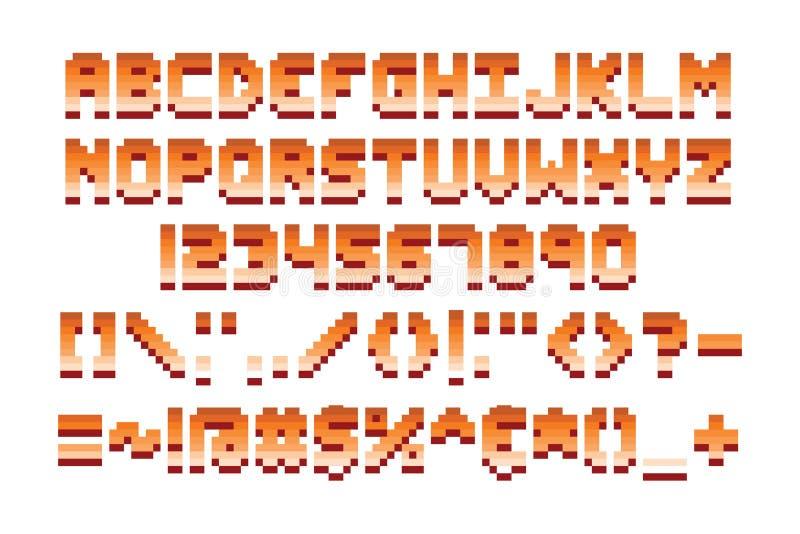 För stilsortsdataspel för PIXEL retro illustration för vektor för design stock illustrationer