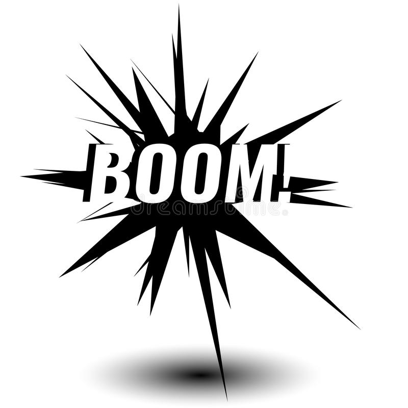 För stilsortsetikett för tecknad film exklusivt uttryck för etikett, ljudillustration Komikerbokballong Att märka bang, bombarder vektor illustrationer