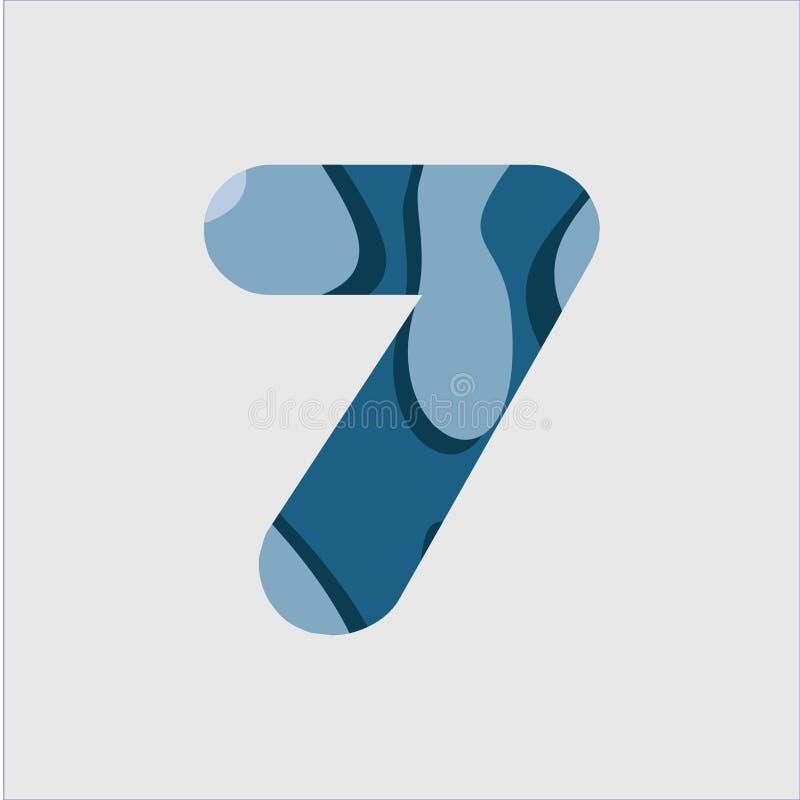 För stilsortsvektor för 7 vatten illustration för design för mall vektor illustrationer