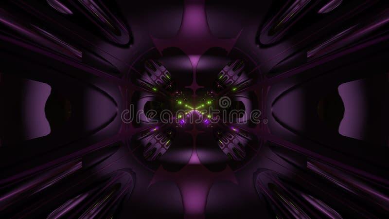 För stiltunnel för futuristisk science främmande bakgrund för illustration för korridor 3d stock illustrationer
