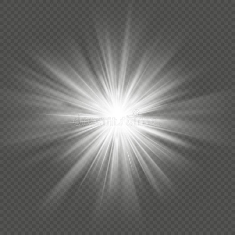 För stjärnabristning för vitt glöd effekt för explosion för signalljus genomskinlig ljus 10 eps stock illustrationer