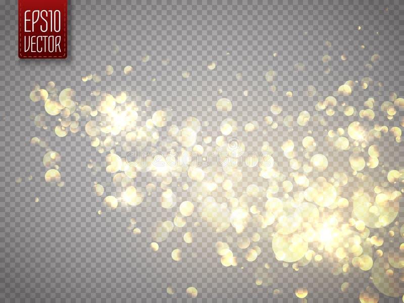 För stjärnadamm för vektor guld- slinga Isolerade skenpartiklar Dammmoln royaltyfri illustrationer