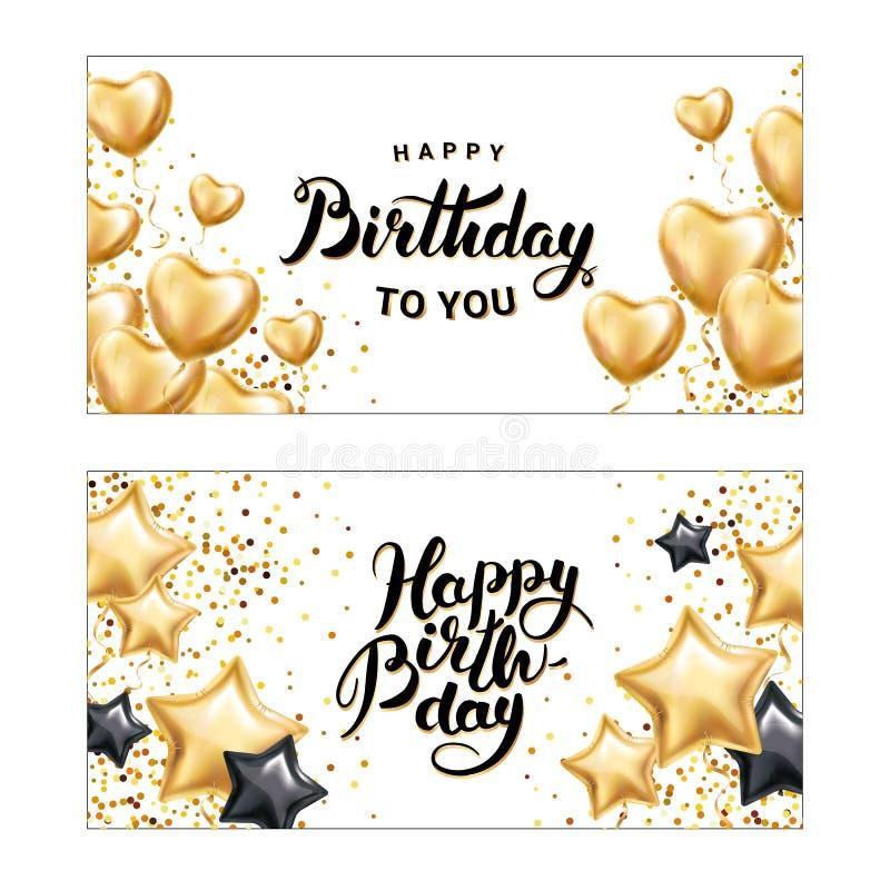 För stjärnahjärta för lycklig födelsedag ballong vektor illustrationer