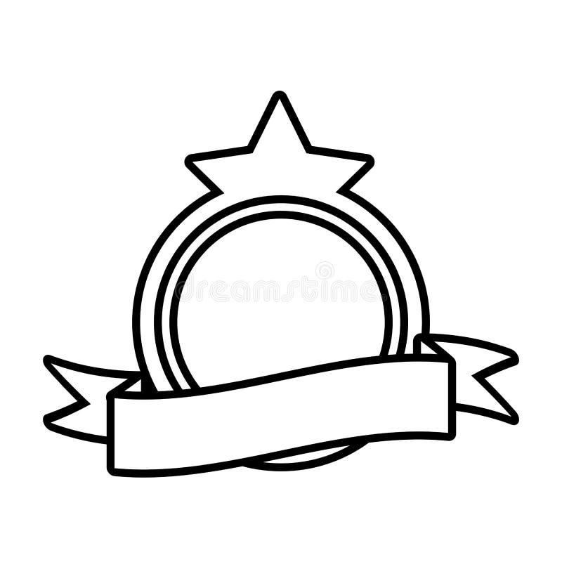 för stjärnaram för sköld tom dekorativ översikt royaltyfri illustrationer