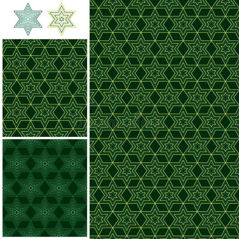 För stjärnasymmetri för Ramadan 6 sömlös modell royaltyfri illustrationer