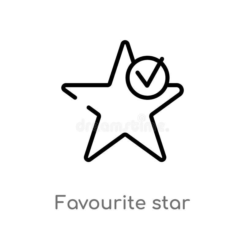 för stjärnavektor för översikt favorit- symbol isolerad svart enkel linje best?ndsdelillustration fr?n teckenbegrepp Redigerbar v stock illustrationer