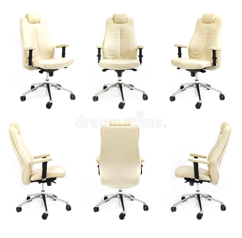 För stol samling för bakgrund för främre sida tillbaka vit arkivfoton