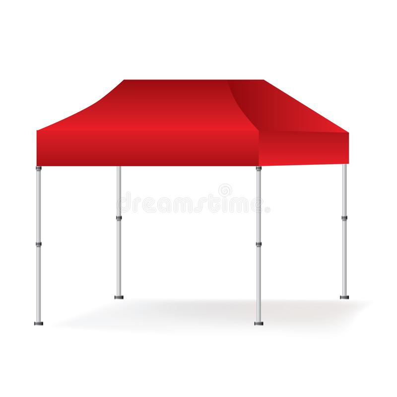 För stort festtälttält för vektor som tom utomhus- röd åtlöje för bås isoleras upp på vit bakgrund stock illustrationer