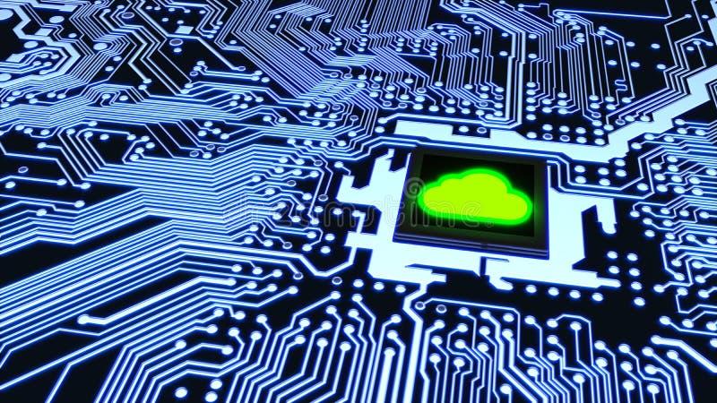 För strömkretsbräde för moln beräknande begrepp för cybersecurity stock illustrationer