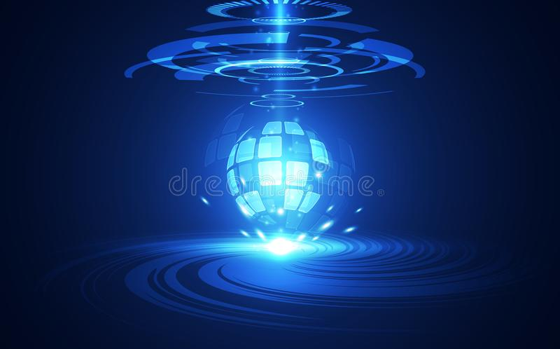För strömkretsbrädet för vektorn färgar det abstrakta futuristiska globala systemet, blått för digital teknologi för illustration vektor illustrationer