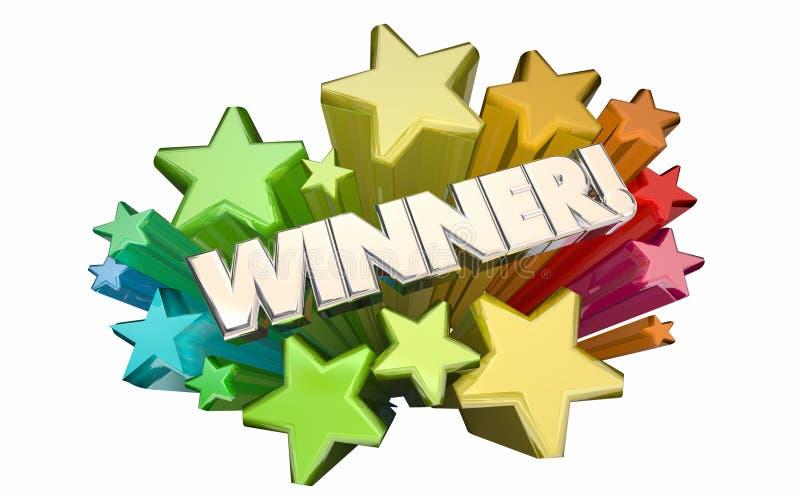 För stridlotteri för vinnare framgång segrade stjärnor 3d Wor för lek för konkurrens royaltyfri illustrationer