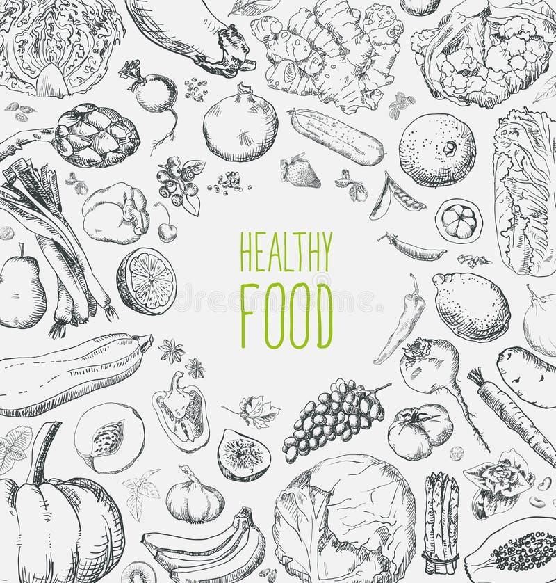För strikt vegetarianmat för restaurang organisk naturlig design för tappning för uppsättning för meny med den svart tavlan royaltyfri illustrationer