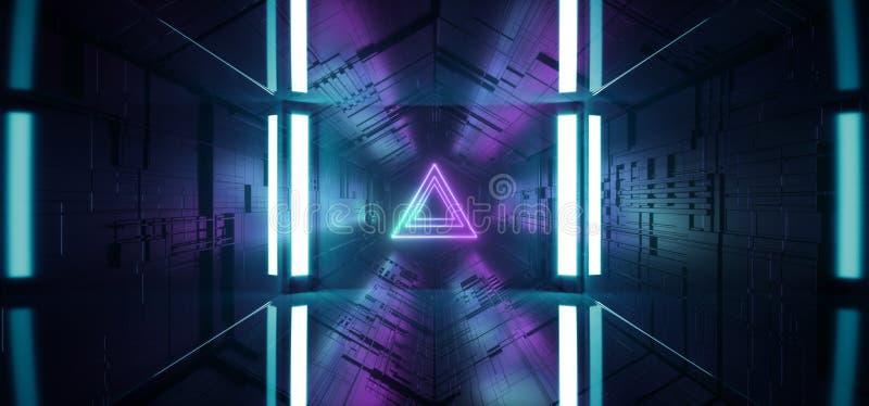 För studioetapp för neon glödande Sci Fi Chip Reflective Gate Portal Triangle för matris för moderkort för futuristisk teknologi  vektor illustrationer