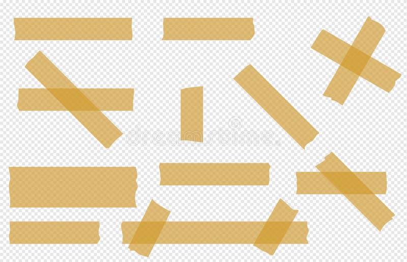 För styckvektor för tejp genomskinlig uppsättning vektor illustrationer
