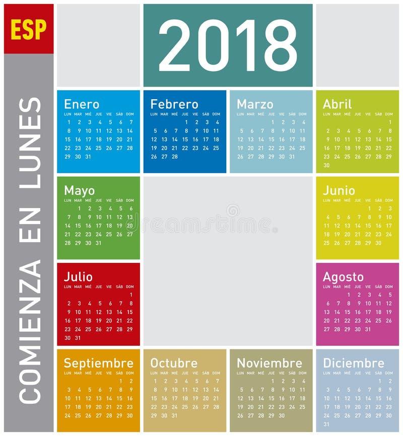 för sunday för 2011 färgrikt spanjorstarter för kalender år vecka arkivbilder