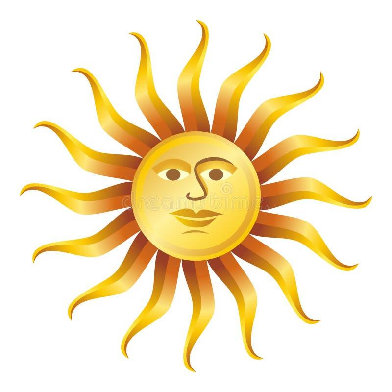 för sunvektor för illustration retro white vektor illustrationer