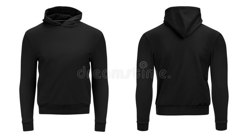För svart manlig lång muff hoodietröja för mellanrum med urklippbanan, mäns hoody designmodell som isoleras på vit bakgrund fotografering för bildbyråer