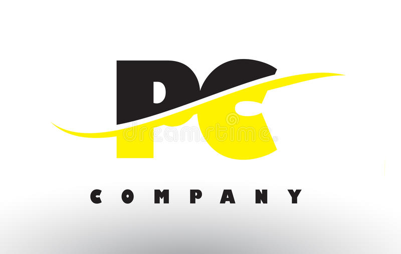 För svart- och gulingbokstav för PC P C logo med Swoosh vektor illustrationer