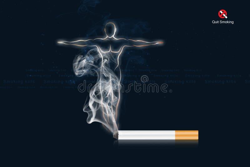 för svart rökande stopp cigarettbegrepp för bakgrund vektor illustrationer