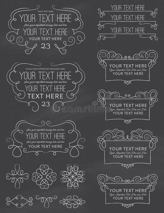För svart tavlakalligrafi för tappning beståndsdelar åtta royaltyfri illustrationer