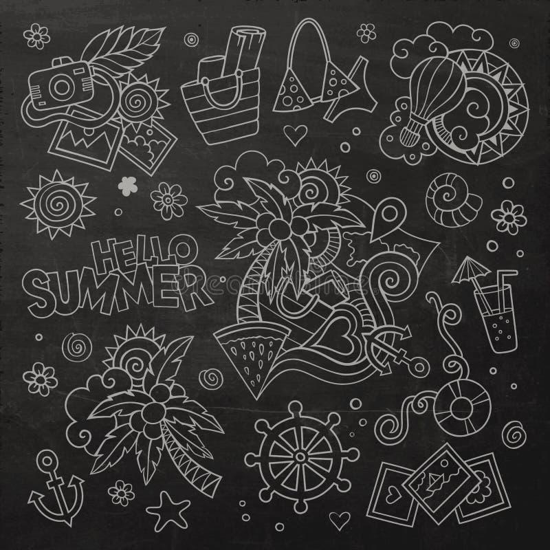 För svart tavlavektor för sommar och för semester symboler stock illustrationer