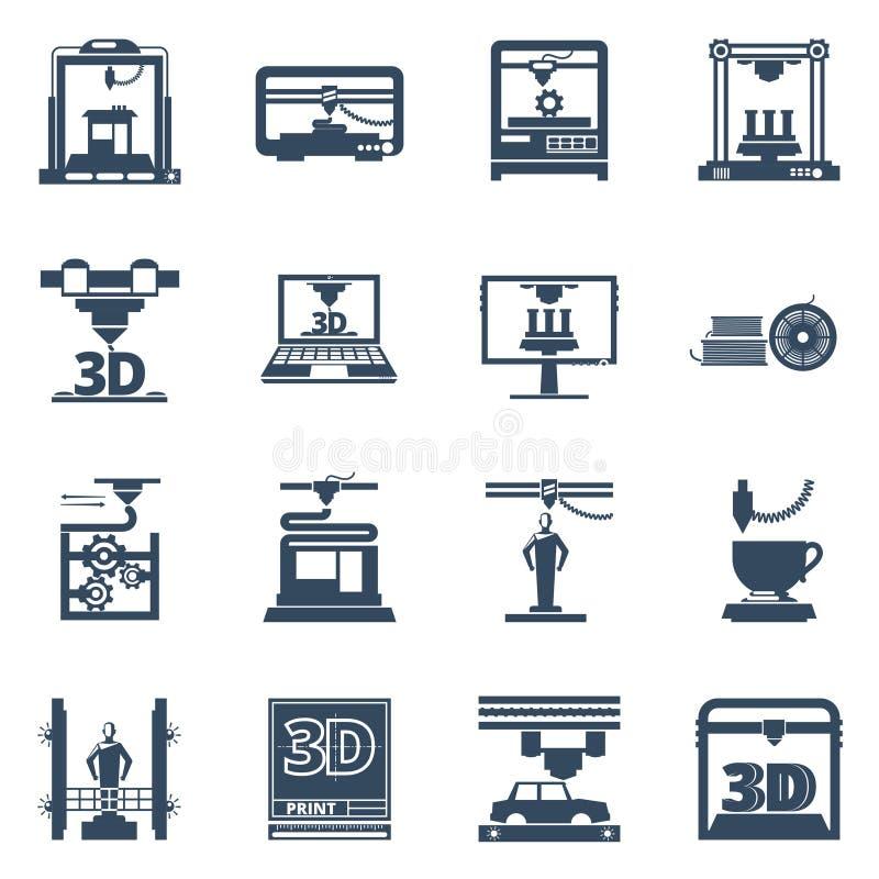 för svartkontur för printing 3D samling för symboler royaltyfri illustrationer