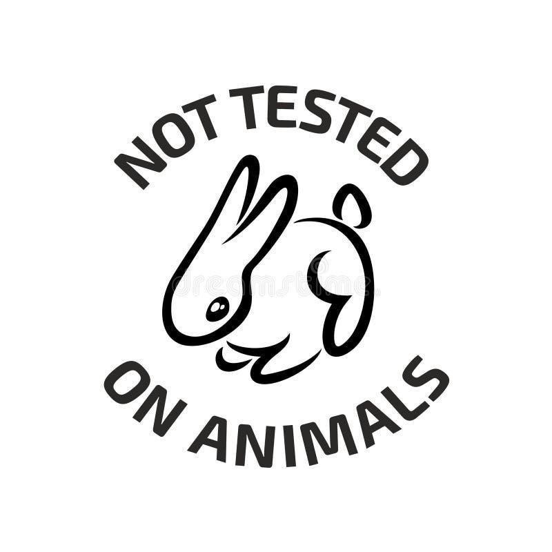 För svartlogo för djur provning symbol med kanin royaltyfri illustrationer
