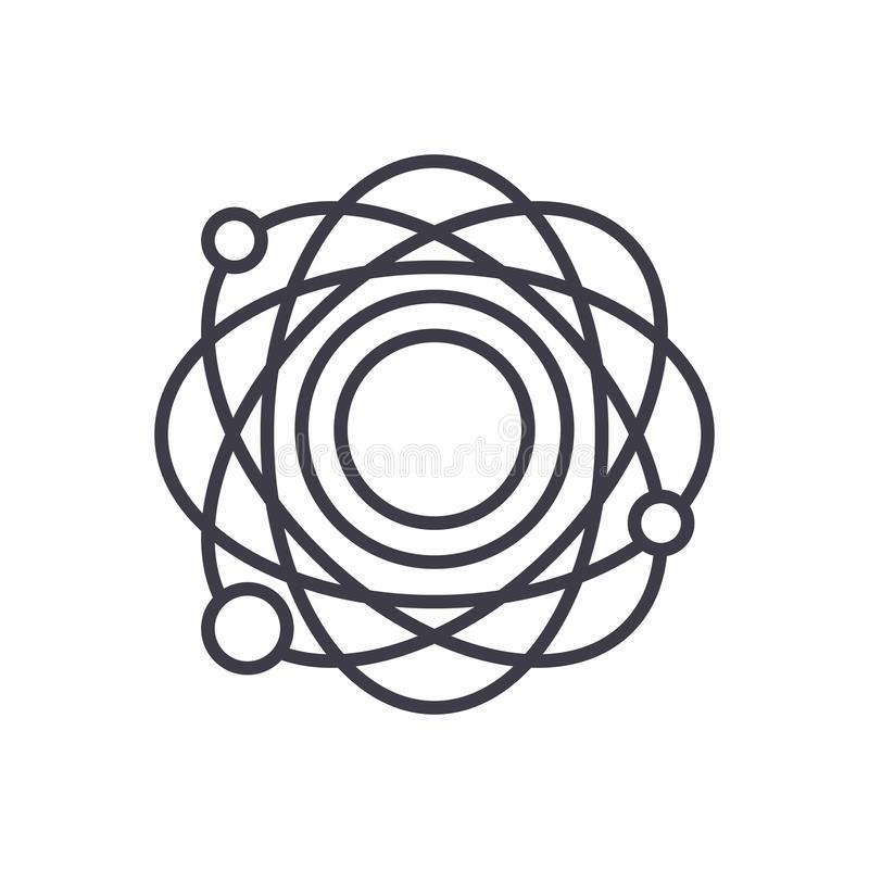 För svartsymbol för atom- struktur begrepp För lägenhetvektor för atom- struktur symbol, tecken, illustration stock illustrationer