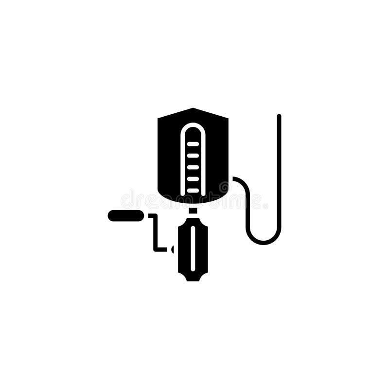 För svartsymbol för olje- förädling begrepp För lägenhetvektor för olje- förädling symbol, tecken, illustration stock illustrationer