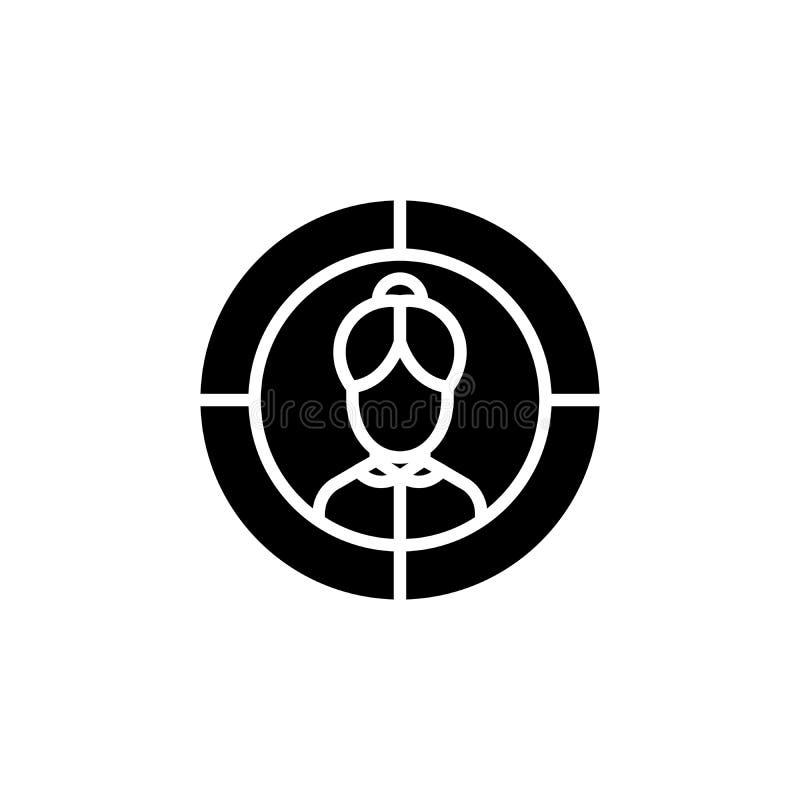 För svartsymbol för potentiell klient begrepp För lägenhetvektor för potentiell klient symbol, tecken, illustration royaltyfri illustrationer