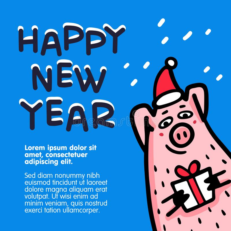 För svinhälsning för lyckligt nytt år kort Roliga svin med godisrottingar, gåvor och santa hattar 2019 kinesiska symbol för nytt  vektor illustrationer
