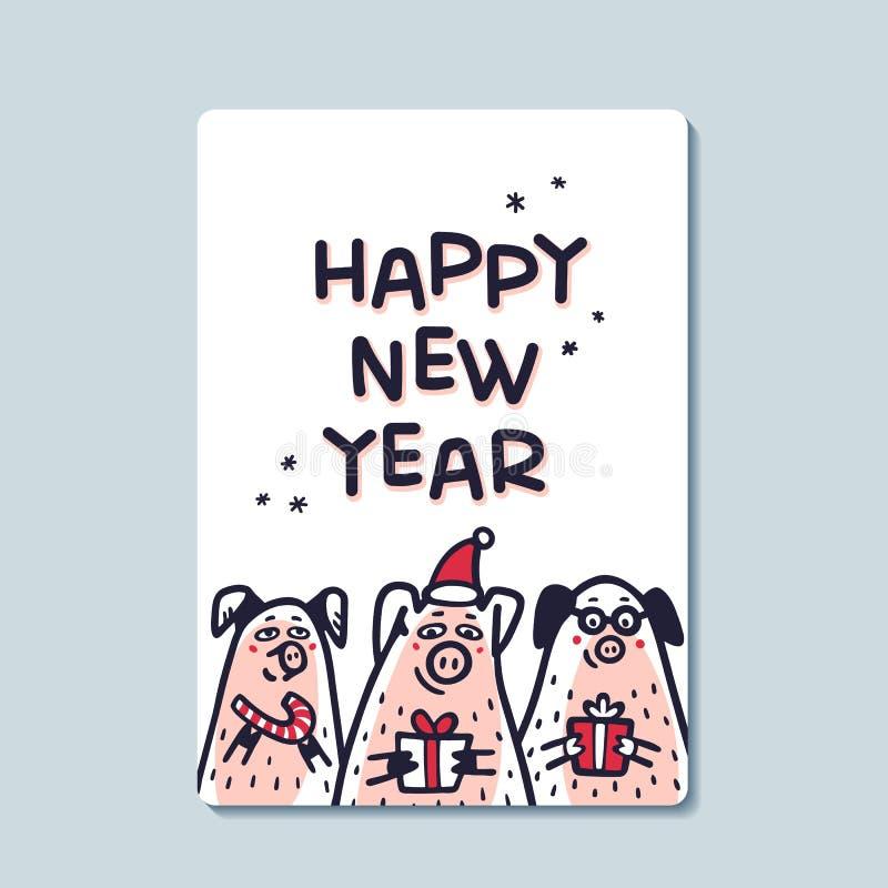 För svinhälsning för lyckligt nytt år kort Roliga svin med godisrottingar, gåvor och santa hattar 2019 kinesiska symbol för nytt  royaltyfri illustrationer
