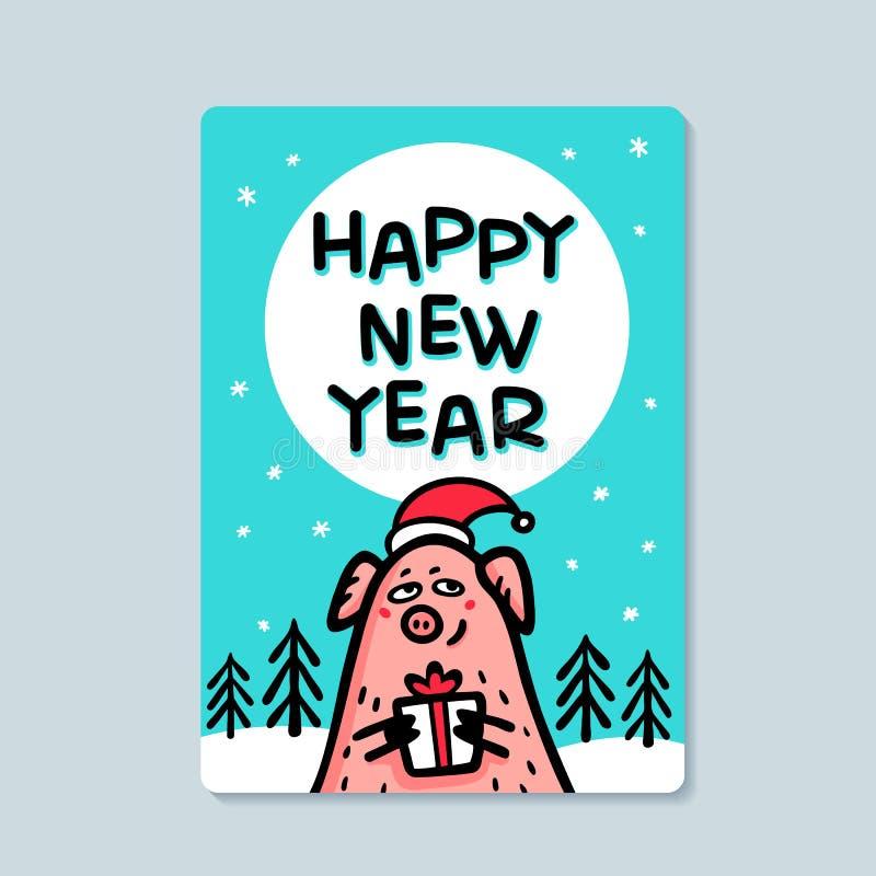 För svinhälsning för lyckligt nytt år kort Roligt svin med gåvan och santa hattar 2019 kinesiska symbol för nytt år Klottra stil vektor illustrationer