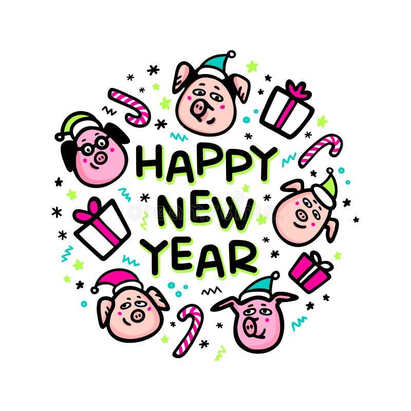 För svinhälsning för lyckligt nytt år kort Roligt svin med gåvan och santa hattar 2019 kinesiska symbol för nytt år Klottra stil stock illustrationer