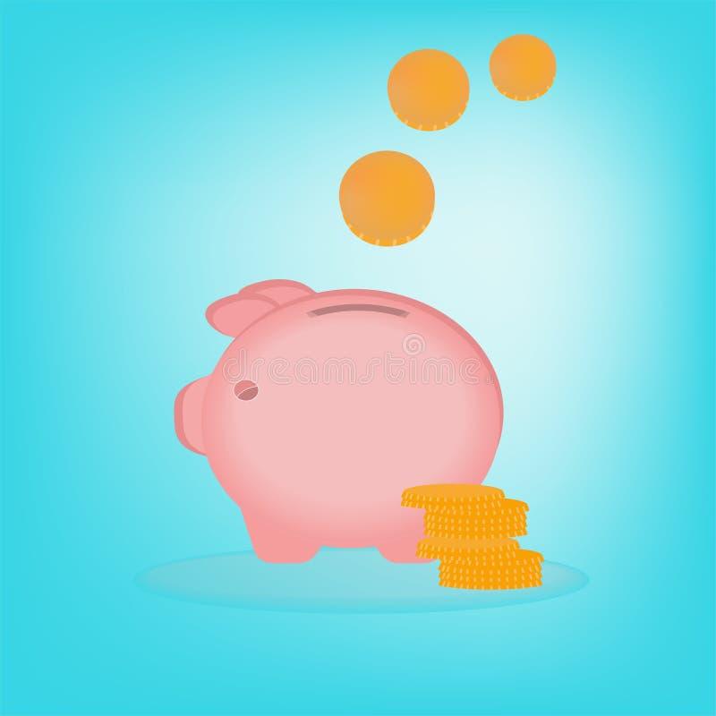 För svinsparbössa för vektor piggy rosa färger med myntcent royaltyfri illustrationer
